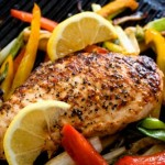 Herb Crisped Chicken Breasts, with Mediterranean Vegetable Salad