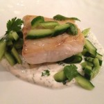 Flounder with Marinated Cucumber and Creamy Sauce