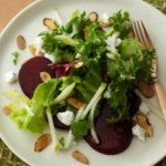 Roasted Beet Salad with Toasted Nuts and Goat Cheese (or non-dairy version)
